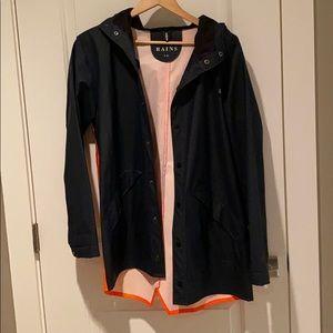 Rains navy/orange rain jacket